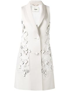 Fendi Floral Appliqué Sleeveless Jacket - Farfetch