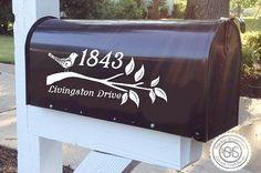 Flourish Bird on A Branch Mailbox Decal by StickieSituations