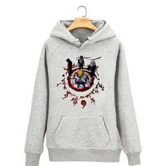 Camplayco Naruto Logo Cosplay Gray Hoodies Pullover Warm Coat Size S *** See this great product.