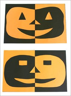Easy Halloween craft for kids! All you need is construction paper, glue, and scissors to make these Positive and Negative Space Jack-O-Lanterns~BuggyandBuddy.com