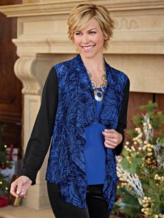Perfect for the holidays, Sheer Waterfall Jacket from Blair