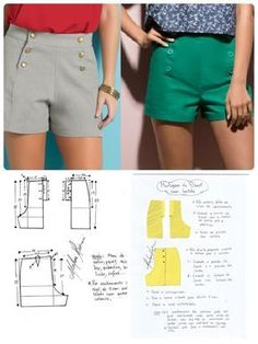 Hot pants pattern Shorts navy military button front retro v This Pin was discovered by Ker Sh ort com botão Dress Sewing Patterns, Clothing Patterns, Shirt Patterns, Fashion Sewing, Diy Fashion, Costura Fashion, Sewing Blouses, Sewing Pants, Make Your Own Clothes