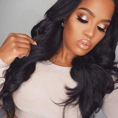 Last Nights Glam✨ Dark brow zing kit Shell pigment Liquid eyeliner SHAYLA Lashes PoreFessional primer gold beauty elixir --> use SHAYLA code for discount. Bride Makeup, Glam Makeup, Wedding Makeup, Makeup Tips, Beauty Makeup, Eye Makeup, Hair Makeup, Makeup Shayla, Black Bridal Makeup
