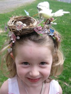 crazy christmas costumes Items similar to Bird nest Easter headband / Bonnet fascinator on Etsy This is seriously so cute! What future big sister WOULDNT want to wear this Channel her inner, English diva a bit. Crazy Hat Day, Crazy Hats, Crazy Hair For Kids, Easter Hat Parade, Bird Nest Craft, Christmas Costumes, Easter Costumes, Girl With Hat, Easter Crafts