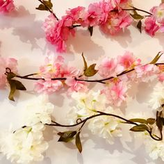 Such pretty blossom garlands. A choice of three colours: ivory, light pink or dark pink. Each garland is long, with eyes along the garland for hanging. Perfect for wedding decorations, home decor, parties etc. Flower Garlands, Artificial Flowers, Silk Flowers, Wedding Decorations, Colours, Pretty, Pink, Bunting, Easter