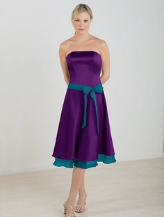 alfred angelo strapless bridemaid in grape w. tealness (purple w. teal)