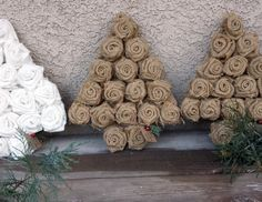 Burlap Rose Christmas Tree White Rose Holiday by FilthyRichDesigns