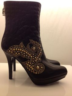 Versace Medusa quilted studded black heeled boots