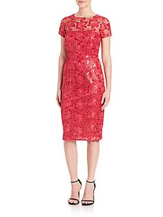 David Meister Sequin Lace Dress - Pink - Size 2