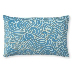 Waves Embroidered Velvet Pillow Cover, Turquoise/Silver #williamssonoma