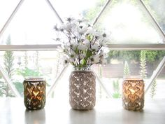 Another lace jar...getting the idea to repurpose an old knit sleeve around a jar!