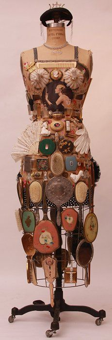 "Fay Sciarra - ""Vanity""  mixed media on vintage dress form"