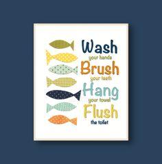 Wash Brush Hang Flush - Blue navy green yellow orange Bathroom Art for children - Fish ocean sea - Kids wall art Boys Girls 8x10 or 11x14 on Etsy, $14.00