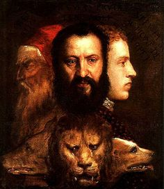 ...the three heads are explained as signifying the three parts of Time: facing left, the voracious wolf represents the vanished past; the hopefully sniffing dog looks to the right, anticipating the future; while the present, in the middle, is embodied in the majestic lion seen full-face (In All Her Names, p. 86) [Tiziano, Allegoria della Prudenza]