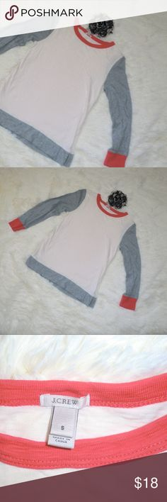 J. Crew Painter Tee Colorblock Baseball Coral S Super cute, barely worn J. Crew painter t shirt in Colorblock, coral and gray size small. 3/4 sleeve. Like new condition, runs a little small, so labeling as XS. Such a cute spring top! J. Crew Tops Tees - Short Sleeve