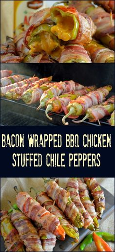 Bacon Wrapped BBQ Chicken Stuffed Chile Peppers Recipe- shredded chicken tossed…