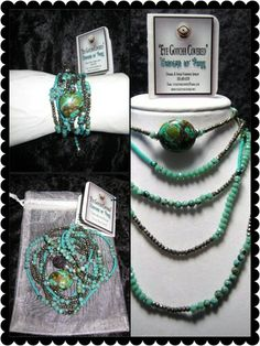 """65"""" Necklace/Wrap Bracelet with Turquoise, Pyrite, Crystals and Seed Beads"""