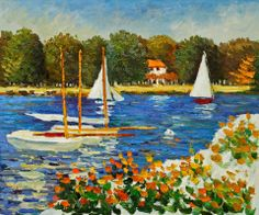 """""""Bassin d'Argenteuil"""" created in 1874 by Claude Monet, French impresionist, 1840-1926."""