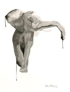 Acuarela contemporánea de elefante blanco y negro Print