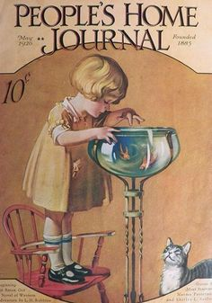 z- Child & Cat w Goldfish Bowl- 'People's Home Journal', 1926 (Tribute- Roy Best)