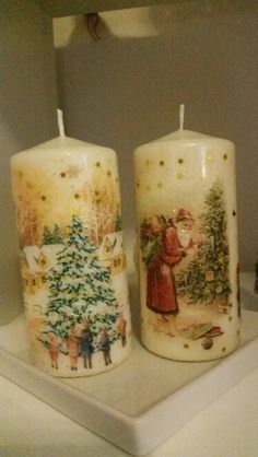 Christmas Decorations For The Home, Christmas Candles, Expensive Candles, Henna Candles, Mason Jar Candle Holders, Christmas Decoupage, Candle Art, Vintage Candles, Best Candles