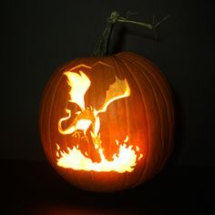 dragon pumpkin carving template - Google Search
