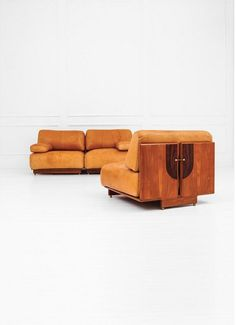 Afra And Tobia Scarpa; Walnut, Rosewood, Brass And Leather Modular Sofa For  Maxalto