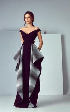 Saiid Kobeisy - 3194 Striped Ruffles Off-Shoulder Gown Couture Dresses, Bridal Dresses, Structured Fashion, Dress Outfits, Fashion Dresses, Belle Silhouette, Cocktail Outfit, Off Shoulder Fashion, Long Evening Gowns