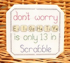 30th, 40th, 50th 60th 70th, 80th & 90th Scrabble Birthday Card⭐️Cross Stitch Kit in Crafts, Cross Stitch, Cross Stitch Kits | eBay