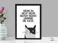 Süßes Katzenbild mit lustigem Spruch / cute cat picture with funny saying by PrintsEisenherz via DaWanda.com