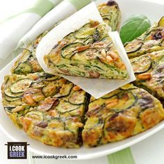 """Similar to a zucchini & cheese """"frittata"""" Side Dish Recipes, Snack Recipes, Cooking Recipes, Greek Cooking, Easy Cooking, Zucchini Cheese, Eat Greek, Brunch Casserole, Home Food"""