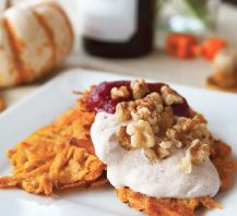 Sweet Potato Latkes with Cranberry Pecan Applesauce and Cinnamon Yogurt
