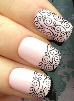 pale pink with black swirl nails