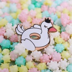 The product Swan Floatie Pool Party Hard Enamel Pin is sold by LOVESOUP Illustration in our Tictail store. Tictail lets you create a beautiful online store for free - tictail.com
