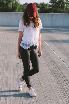 something borrowed | the daybook : lace top : white converses : skinnys : hat