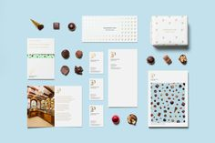 Brand identity and stationery and brochure for chocolatier and confectioner Bombonería Pons designed by Mucho.