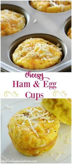 Cheesy Ham and Egg Cups are made in a muffin tin and perfect for using up leftover ham! Quick and easy brunch, breakfast, lunch or light dinner!