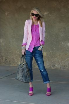 pink shirt + light pink blazer