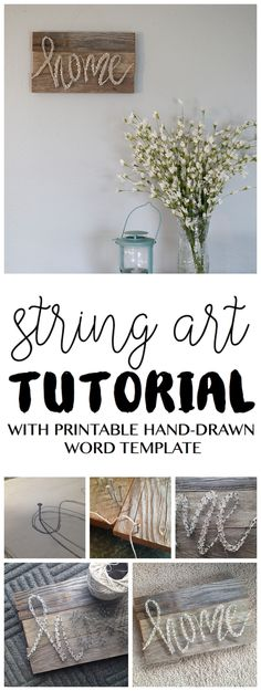 DIY String Art Tutorial Free Pattern Template Home String Art Home Decor Vintage Pallet Barn Wood Style Easy Project Decorating