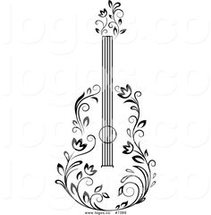 Royalty Free Clip Art Vector Black and White Floral Guitar Logo