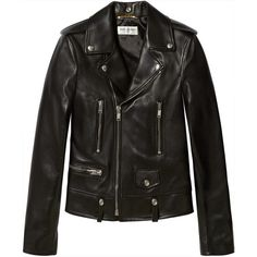 Saint Laurent Leather biker jacket (200,425 PHP) ❤ liked on Polyvore featuring outerwear, jackets, leather jackets, tops, black, 100 leather jacket, asymmetrical zipper jacket, rider jacket, moto jacket and bear jacket