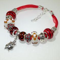 European Charm Bracelet Handmade Red Black Ladybug by BekisBeads