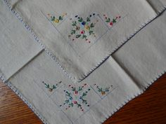 Set of Two Ecru Hand Flowered Embroidered by SelectionsBySusan