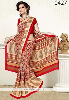 Radiant Red And Beige Georgette Casual Wear Saree