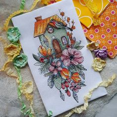 "Finished work by pattern ""House with tulips"" #sa_stitch #sa_pattern #pattern #crossstitch"