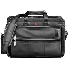 """Wenger® Leather Double Compartment 15"""" Computer Briefcase - BLACK"""