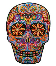 I just love the colour and design in this sugar skull - its so beautiful! Will influence my future embroidered skulls....