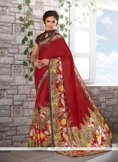 Delectable Red Print Work Faux Crepe Casual Saree Model: YOSAR7452