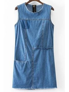 SHARE & Get it FREE | Solid Color Pocket Round Neck Sleeveless Denim Dress - BlueFor Fashion Lovers only:80,000+ Items • New Arrivals Daily Join Zaful: Get YOUR $50 NOW!