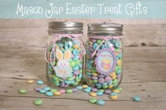 Mason Jar Easter Treat Gifts via thecreativeheadquarters.com #easter #masonjars #giftideas